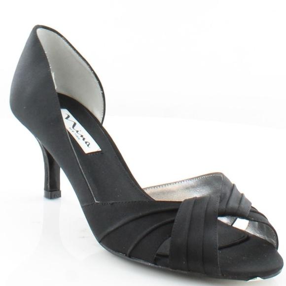 a1bf7e51cf6 Nina Culver Black Satin D orsay Peep Toe Heels 8